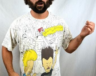 Rare Vintage All-Over-Print 1993 MTV Beavis and Butthead 90s Butt-Head Death Rock Skull Tshirt Shirt Tee