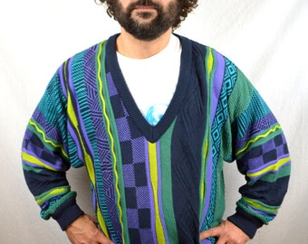 Vintage 90s COOGI Style Cosby Rainbow Textured WOW Winter Sweater