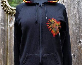 Rainbow Love Hoodie Tie Dye - Zip Hoodie, Hippie clothing, Sweater, Sweatshirt, Jacket,