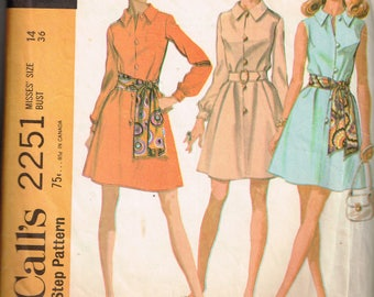 60s Shirtdress Pattern McCalls 2251 Bust 36 Above Knee Long Sleeved or Sleeveless Dress With Sash Button Front Vintage 1969 Sewing Pattern