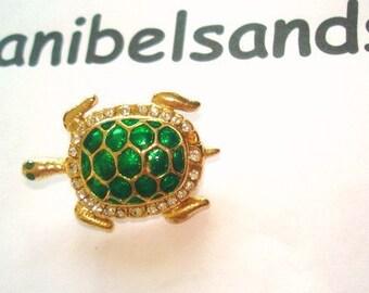 Turtle Rhinestone Brooch Green Gold Tone Green Eyes