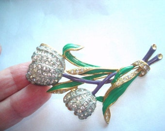 Clear  Rhinestone Flower Brooch Green Gold Tone