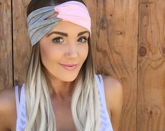 Boho Pastel Pink + Light Grey Turban Headband    Stretch Workout Jersey Knit Cotton Gray Hair Band Bohemian Festival Accessory Girl Woman