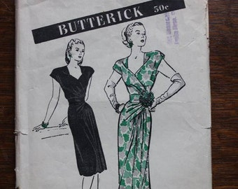 Butterick 3684 Sewing Pattern Misses Dinner and Dance Dress Size 18 1940s VINTAGE by Plantdreaming