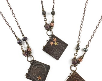 Mini Journal Book pendant necklace // embossed mixed metal pendant // gears, or owl, or moon & stars // artisan handmade // unique gift