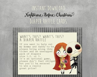 Nightmare Before Christmas Baby Shower Diaper Raffle cards, Instant Download,  Baby Girl,  Shower, Printable, Jack Skellington, Shower Games