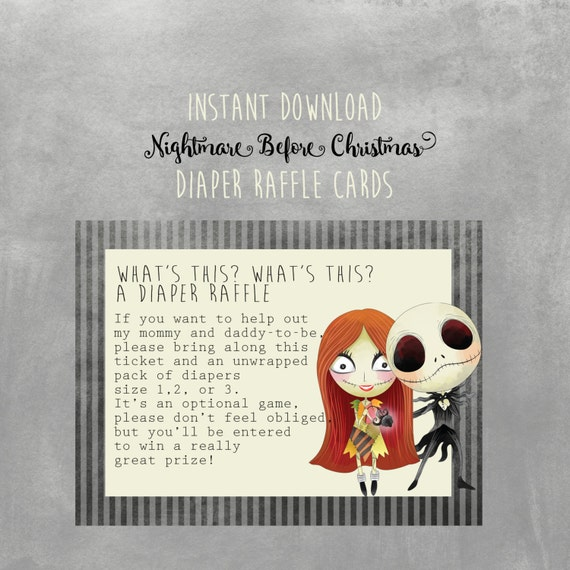 Nightmare Before Christmas Baby Shower Diaper Raffle Cards Instant