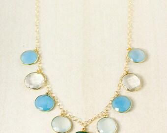Dreamy Sea Blue Bib Necklace - Blue Gemstone Bib Necklace - Onyx, Chalcedony, Quartz