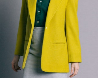 Vintage 80s Chartreuse Wool One Button Blazer | M