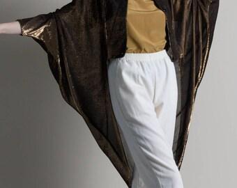 Vintage 80s Bronze Metallic Batwing Tuxedo Jacket
