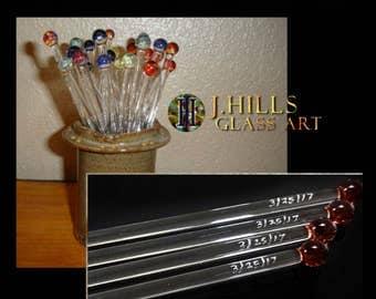 Glass Stir Stick Swizzle Stick Glass Drink & Coffee Stir Sticks, Personalized Etched Custom Date, Boro Lampwork Set of 8