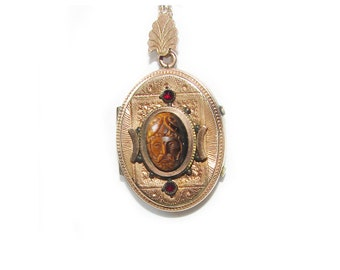 8K Gold 19c Austro Hungarian Rare Carved Stone Neoclassical Cameo Roman Soldier Bohemian Garnets Antique Gold Filled Photo Locket Pendant