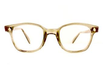 50s American Optical Safety Supply Eyeglasses Unisex Vintage 1950's Wayfarer Style Translucent Grey Frames #M576 DIVINE