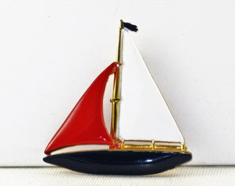 Vintage Patriotic U.S.A. American Enameled Sailboat Brooch (B-2-1)