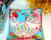 Pincushion, Rooster Patchwork Pincushion in Bright Modern Prints- Ready to Ship