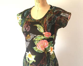 Vintage 1970s Black Floral Print Neon Top Scoop Neck Cap Sleeve T-Shirt S