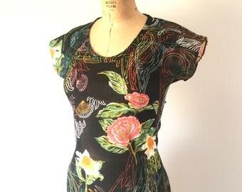 Vintage 1970s Black Floral Print Neon Top Scoop Neck Cap Sleeve T-Shirt S