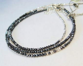 Black Diamond Moissanite Slimline Layering Bracelet With 99 Percent Pure Silver Hill Tribe Faceted Beads - Silver Bracelet, Modern, Sexy