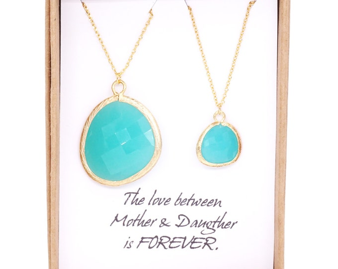 Mint Gold Framed Glass Drop Necklaces, Mother Daughter Set Bridesmaid Gift, Bridal Jewelry, Dangle Earrings, Christmas gifts