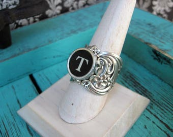 Antique Typewriter Key Ring  Initial T