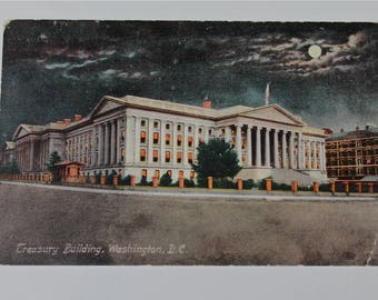 1910 Antique Postcard Treasury Building Washington DC Night Scene Vintage Postcard Nation's Capital At Night