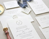 Letterpress Wedding Invitation - Serenbe Design- Monogram,Calligraphy,Traditional, Elegant, Simple, Classic, Script, Custom, Formal