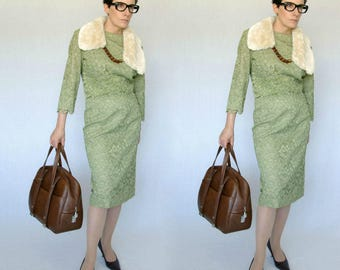 50s sage green lace overlay dress - 1211361