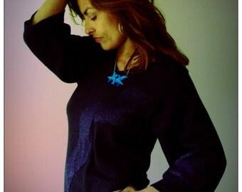 Navy Blue Merino Cashmere & Lurex V Neck Sweater     HandMade in England UK