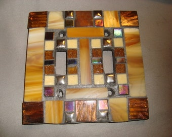 MOSAIC LIGHT SWITCH Plate, Double, Wall Art, Wall Plate, Bronze, Silver, Brown, Tan, Iridescent Black