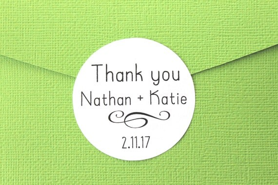 Wedding Stickers, Thank You, Wedding Favor Stickers, Personalized Wedding Favor Labels