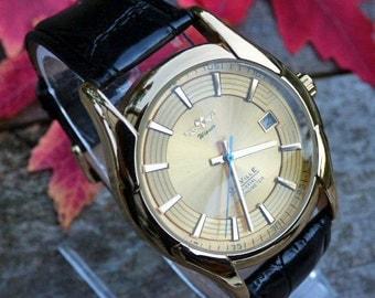 SALE - Premium Black and Gold Automatic Wrist Watch - Black leather watch strap - Mechanical Watch - Engravable Watch - Item MWA278