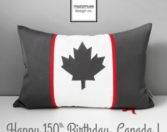 Canada Flag Pillow Cover, Canadian Flag Pillow Cover, Decorative Maple Leaf Pillow Case, Grey Red White Canada Outdoor Pillow 150th Birthday