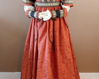 "Bust 35"" Black and Orange Gown Borgia Lucrezia Italian Gold Mardi Gras Dress Ever After Renaissance Medieval Borgias"