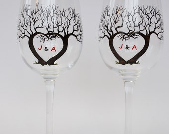 SALE PRICE Set of 2 Hand painted Wine glasses Tree and Initials for wedding or wedding anniversary