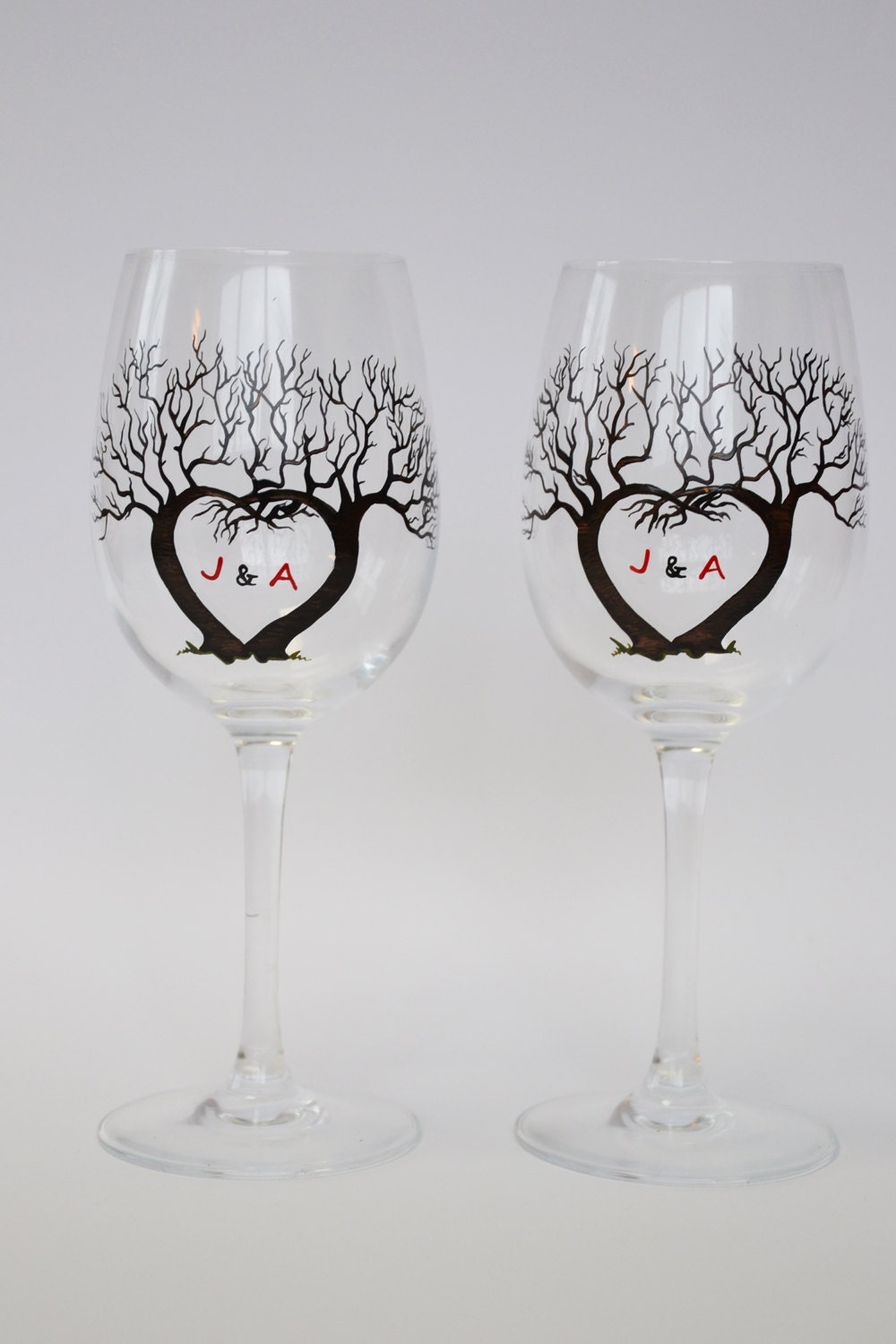 Set of 2 hand painted wine glasses tree and initials for for Painted wine glasses with initials