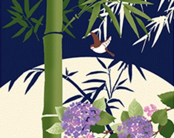 Japanese Tenugui Towel Fabric, Hydrangea, Floral, Bamboo, Hand Dyed Fabric, Modern Art Design, Wall Hanging, Table Cloth, Scarf, Zakka, h568
