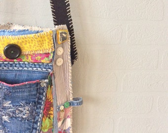 Handmade Whimsical Crossbody Bag in Pink Yellow Blue Black