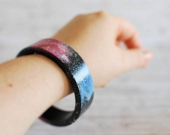 Galaxy pattern hand painted bracelet - Stardust bangle
