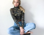 Turtleneck - Hand Printed - Organic Cotton - Floral Turtleneck - Cats - Thief and Bandit®