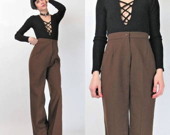1970s Wool Trousers 40's Style War Era Brown Wool Pants High Waisted PWide Leg Pants Womens Suit Trousers Palazzo Pants Pleated (S) E3073