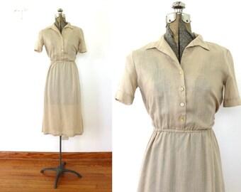 70s Khaki Dress / 1970s Sheer Tan Safari Shirt Dress