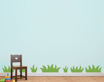 Grass Wall Decal - Nature wall art for Kids Bedroom - Set of 7 Grass Patches - Playroom Decor