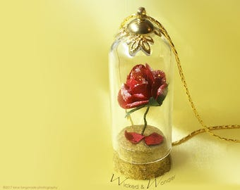 ENCHANTED ROSE  Necklace Inspired by Disney Beauty and the Beast - gold  glass dome pendant with  Red Rose jewelry for Belle Costume Cosplay