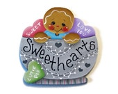 Ginger in Bowl with Candy Hearts Ornament or Fridge Magnet, Handpainted Wood Gingerbread Refrigerator Magnet, Hand Painted Ginger, Tole