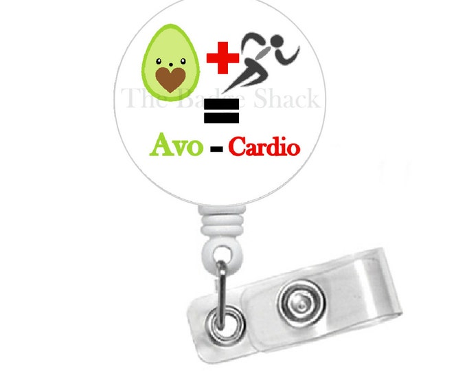 Avocardio Badge Holder - Funny Badge Reel - Nurses Badge Holder - Cafeteria Worker Badge - Dietitian Badge - Avocado - Cardio Nurse Badge