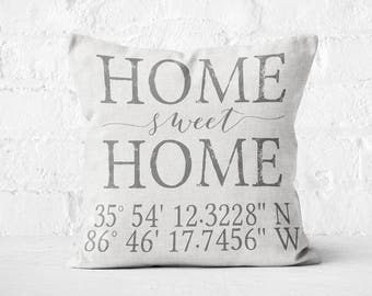 Housewarming gift, Longitude Latitude pillow, Wedding gift, Coordinates Pillow Cover Personalized Gift