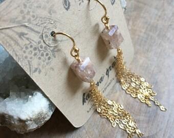 Silverite Tassel Earrings, Gemstone Tassel Dangle Earrings, Gold Filled Earrings, Boho Jewelry