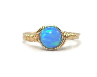 Opal Wire Wrapped Ring 14k Gold Fill Custom Sized Faux Opal Manmade Opal