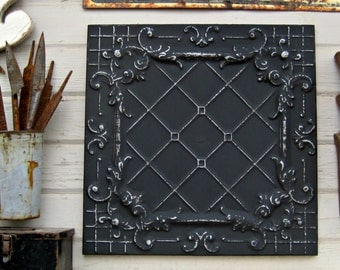 FRAMED 2'x2' Antique Ceiling Tin Tile. Circa 1910. Ready to Hang. Great for magnet board. Architectural salvage