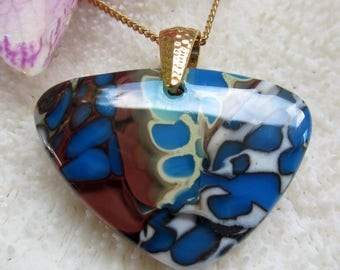 Fused glass pebble pendant